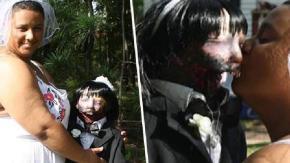 """Donna sposa una bambola Zombie. """"Ora il mio mondo è completo""""."""