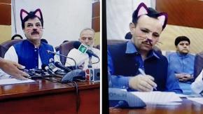 Filtro gatto si attiva erroneamente durante una live di politici pakistani ed è subito virale!
